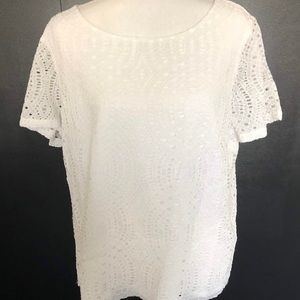 J. Crew White Lace Cut Out Lined Blouse Size 16
